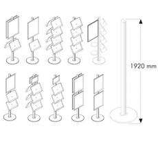 Infodisplay MultiStand, seitliches Acrylprospektfach für 1x DIN A4 Skizze